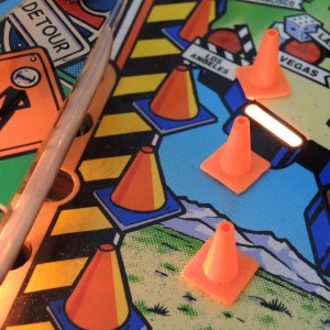 Road work cones Red & Ted's Road Show pinball mod